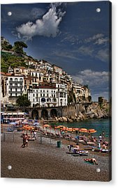 Beach Scene In Amalfi On The Amalfi Coast In Italy Acrylic Print by David Smith