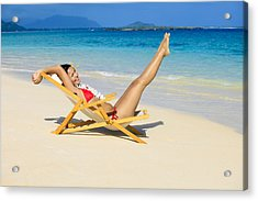 Beach Stretching Acrylic Print by Tomas del Amo
