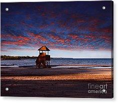 Beach Sunset Acrylic Print by Ms Judi