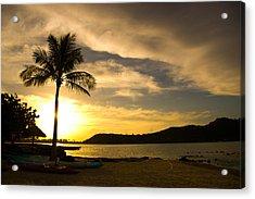 Beach Sunset With Bora Bora Palm Acrylic Print by Benjamin Clark