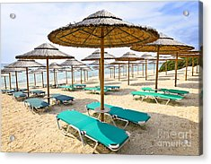 Beach Umbrellas On Sandy Seashore Acrylic Print by Elena Elisseeva