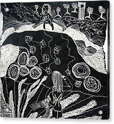 Beach Walking On Rocks Acrylic Print by Karen Elzinga