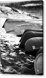 Beached Kayaks Acrylic Print by Julia Wilcox