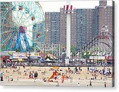 Beachgoers At Coney Island Acrylic Print by Ryan McVay