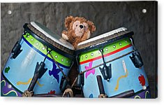 Acrylic Print featuring the photograph Bear And His Drums At Walt Disney World by Thomas Woolworth