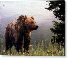 Acrylic Print featuring the painting Bear In The Woods by Wayne Pascall
