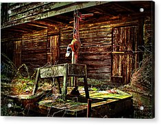 Beaten Down Barn Building Acrylic Print by Trudy Wilkerson
