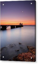 Beautiful Beach And Bridge Acrylic Print by Oscar Gonzalez