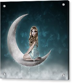 Acrylic Print featuring the photograph Beautiful Child Sitting On Crescent Moon by Ethiriel  Photography