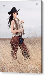 Beautiful Cowgirl Acrylic Print by Cindy Singleton