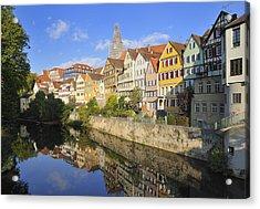 Beautiful German Town Tuebingen - Neckar Waterfront Acrylic Print by Matthias Hauser