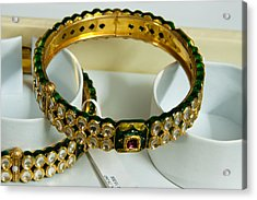 Beautiful Green And Purple Covered Gold Bangles With Semi-precious Stones Inlaid Acrylic Print by Ashish Agarwal