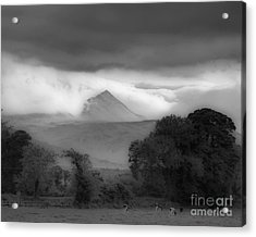 Beautiful Killarney Mountains Ireland Black And White Acrylic Print