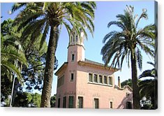 Beautiful Pink Architecture And Palm Tree II At Park Guell Barcelona Spain Acrylic Print by John Shiron