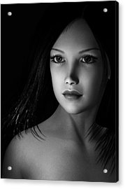 Beautiful Portrait - Black And White Acrylic Print