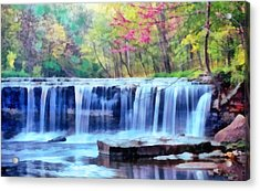 Acrylic Print featuring the digital art Beautiful Water Fall by Walter Colvin