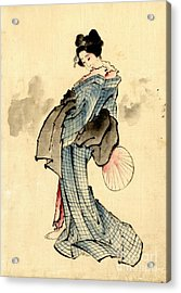 Beauty With Fan 1840 Acrylic Print by Padre Art