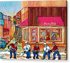 Beauty's Restaurant-montreal Street Scene Painting-hockey Game-hockeyart Acrylic Print by Carole Spandau