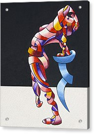 Becca 208-08 - Abstract Geometric Futurist Figurative Oil Painting Acrylic Print by Mark Webster