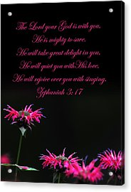 Acrylic Print featuring the photograph Bee Balm And Bible Verse by Randall Branham