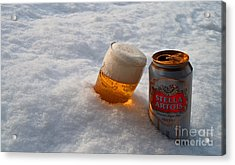 Beer In The Snow Acrylic Print by Rob Hawkins