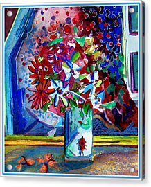 Beetle And Flowers Acrylic Print by Mindy Newman