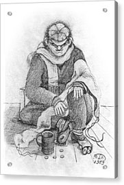 Beggar 2  In The  Winter Street Sitting On Floor Wearing Worn Out Cloths Acrylic Print