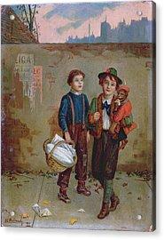 Beggars And A Monkey Acrylic Print by Augustus Edward Mulready