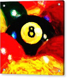 Behind The Eight Ball - Square Acrylic Print by Wingsdomain Art and Photography