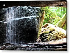 Behind The Waterfall Acrylic Print by Beverly Kobee