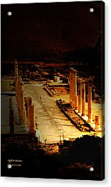 Beit She'an - Ancient Site - Colonnade.. Cardo Acrylic Print by Itzhak Richter