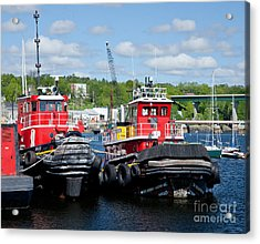 Belfast Tugboats Acrylic Print by Susan Cole Kelly
