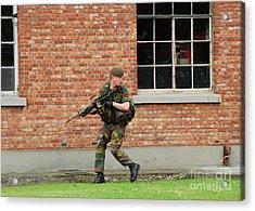 Belgian Infantrists Under Attack Acrylic Print by Luc De Jaeger