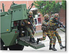 Belgian Infantry Soldiers Exit Acrylic Print by Luc De Jaeger