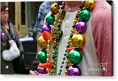 Acrylic Print featuring the photograph Believe Dat Mardi Gras Beads by Jeanne  Woods