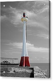 Acrylic Print featuring the photograph Belize City Lighthouse Color Splash Black And White by Shawn O'Brien