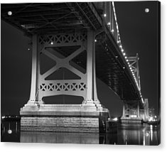 Ben Franklin Bridge Black And White Acrylic Print by Aaron Couture