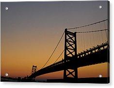 Ben Franklin Bridge Sunrise Acrylic Print by Bill Cannon