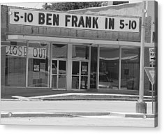 Ben Franklin Says Goodbye - Bw Acrylic Print