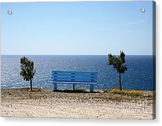 Bench With A View Acrylic Print by Phoenix Michael  Davis