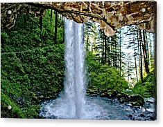 Beneath The Falls Acrylic Print by Rob Green