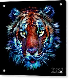 Acrylic Print featuring the painting Bengal Tiger Portrait by Elinor Mavor