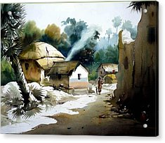 Acrylic Print featuring the painting Bengal Village At Noontime by Samiran Sarkar