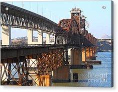 Benicia-martinez Bridges Across The Carquinez Strait In California . 7d10425 Acrylic Print by Wingsdomain Art and Photography