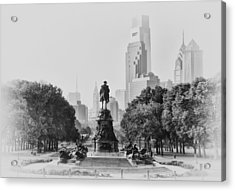 Benjamin Franklin Parkway In Black And White Acrylic Print by Bill Cannon