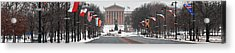 Benjamin Franklin Parkway Panorama Acrylic Print by Bill Cannon