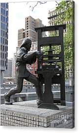 Benjamin Franklin Statue - Philadelphia Acrylic Print by Christiane Schulze Art And Photography