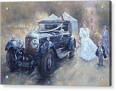 Bentley And Bride  Acrylic Print by Peter Miller