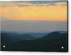 Berkshires Sunset Deerfield River Valley East Mountain Acrylic Print by John Burk