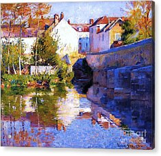 Beside The River - Grez Acrylic Print by Pg Reproductions